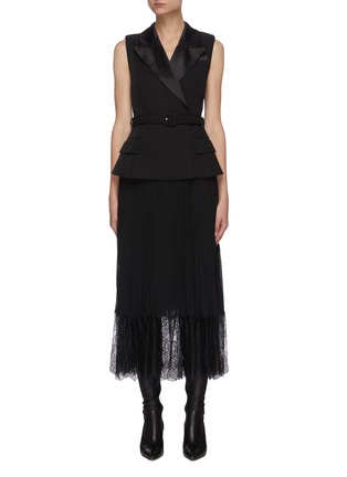 Main View - Click To Enlarge - SELF-PORTRAIT - Tailored crepe and chiffon midi dress