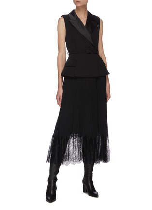 Figure View - Click To Enlarge - SELF-PORTRAIT - Tailored crepe and chiffon midi dress