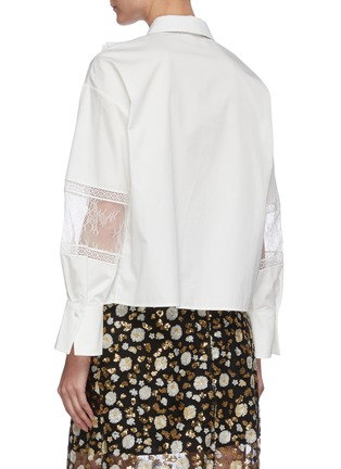 Back View - Click To Enlarge - SELF-PORTRAIT - Contrast neck tie lace panel ruffle shirt