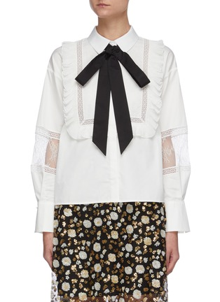 Main View - Click To Enlarge - SELF-PORTRAIT - Contrast neck tie lace panel ruffle shirt