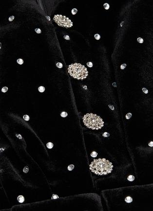 - SELF-PORTRAIT - Puffed shoulder diamante embellished velvet mini dress