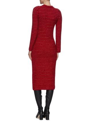 Back View - Click To Enlarge - SELF-PORTRAIT - Floral diamante button mélange wool knit dress