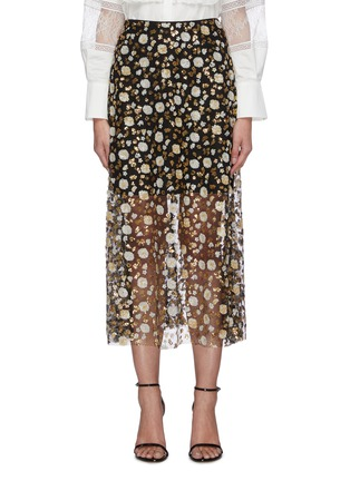 Main View - Click To Enlarge - SELF-PORTRAIT - Sequin embellished mesh midi skirt