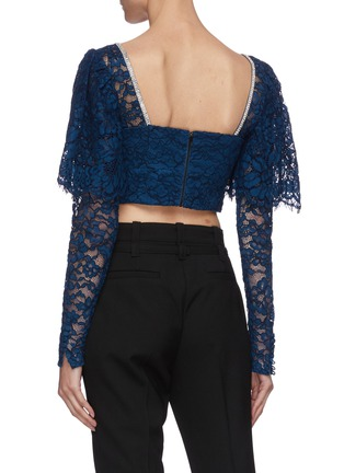 Back View - Click To Enlarge - SELF-PORTRAIT - Lace long sleeve crop top