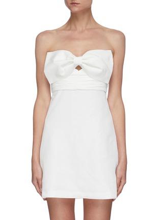 Main View - Click To Enlarge - SELF-PORTRAIT - Bow taffeta sleeveless mini dress