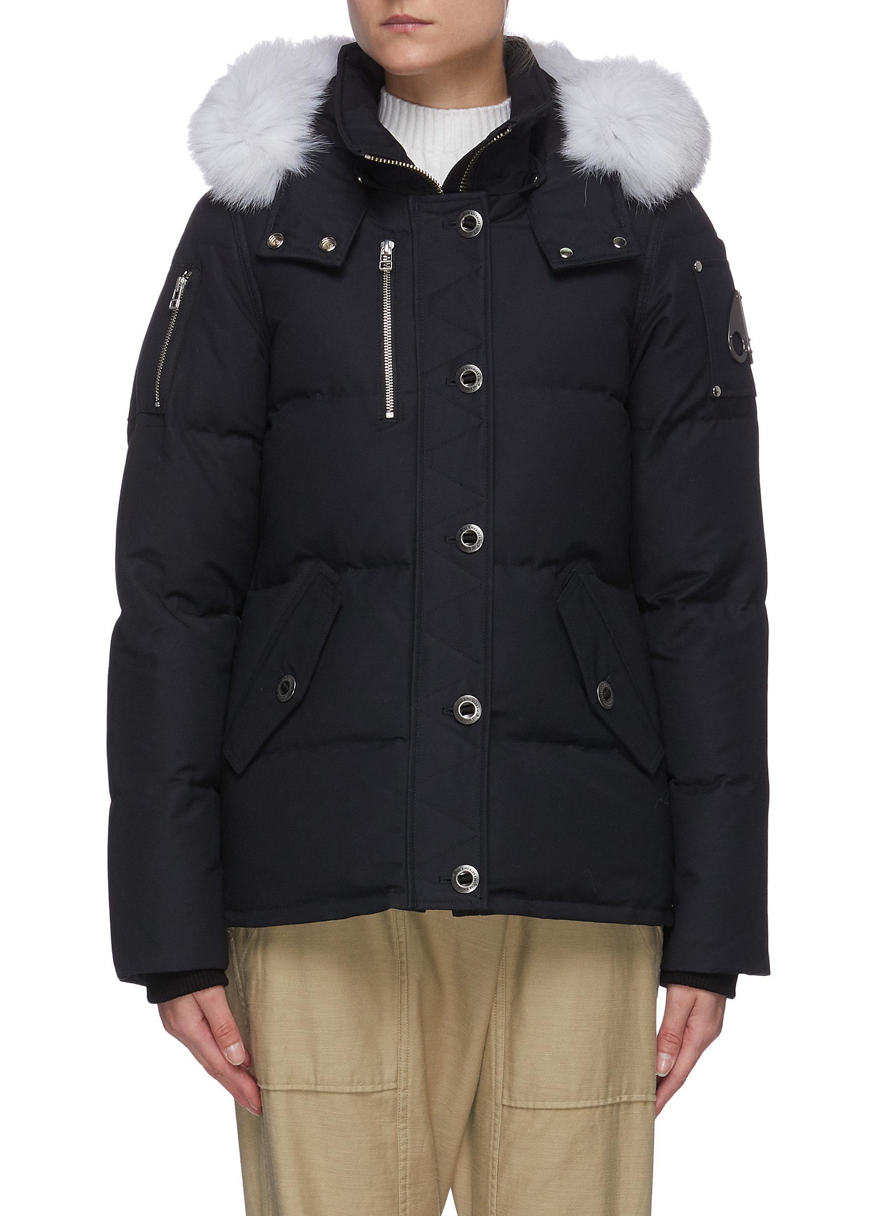 Q' Fox fur trim nylon duck down jacket - MOOSE KNUCKLES - Modalova