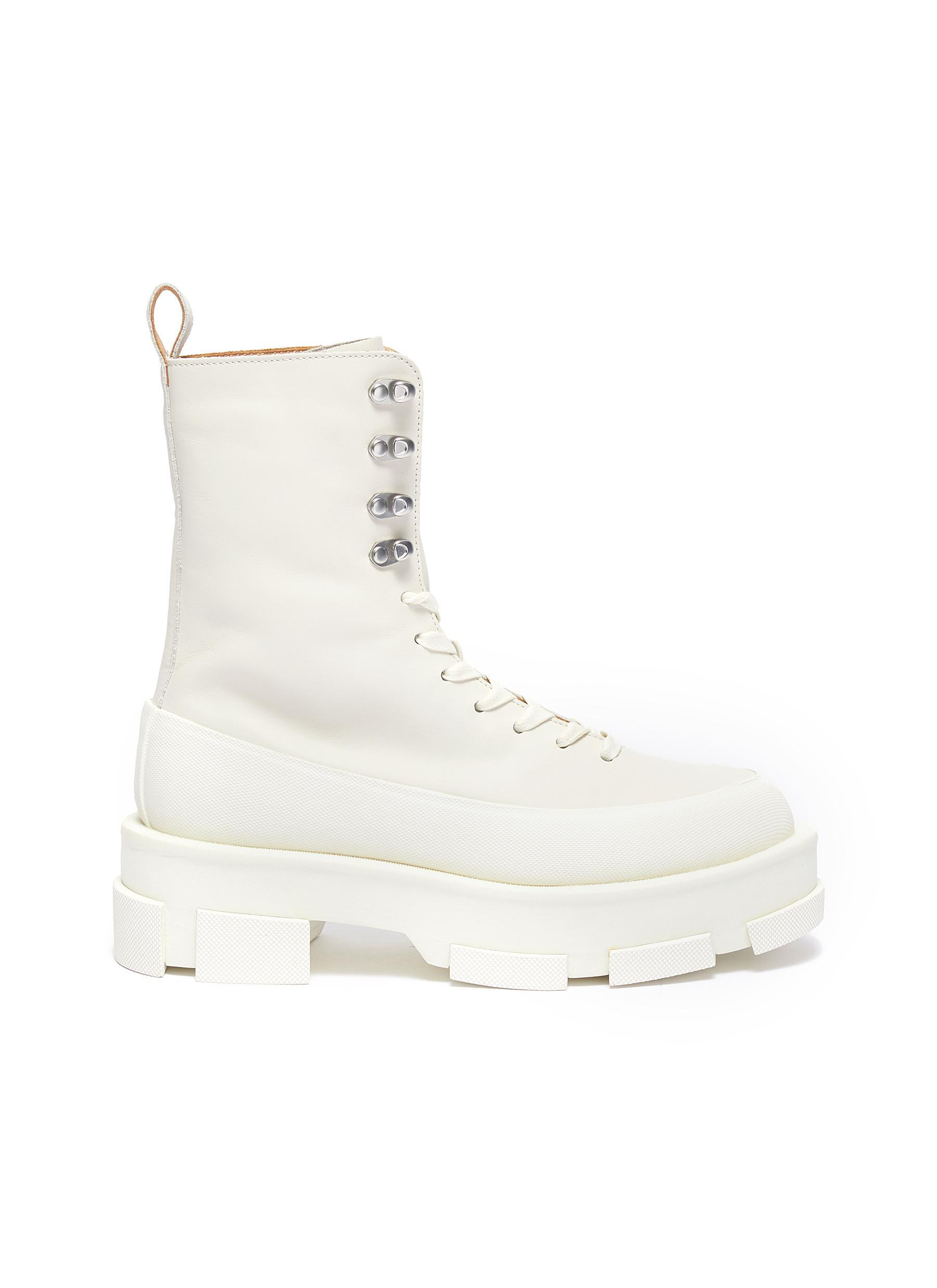 Gao' leather platform combat boots