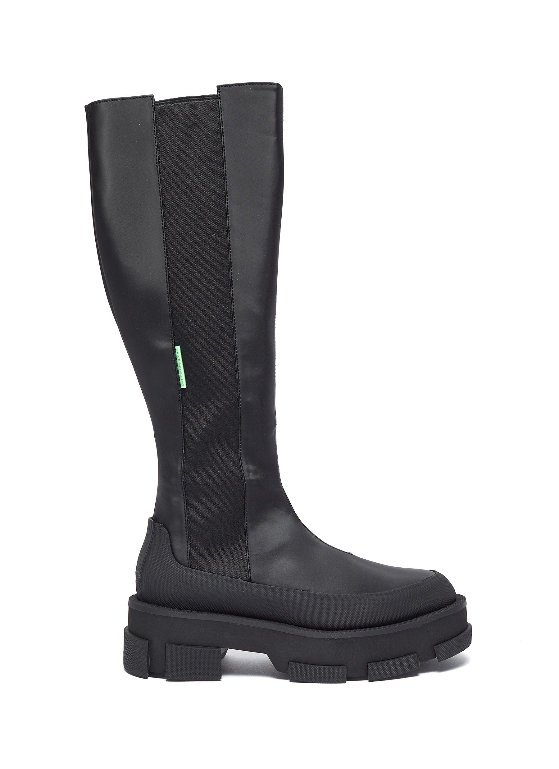 Gao' chunky sole stretch leather knee high boots