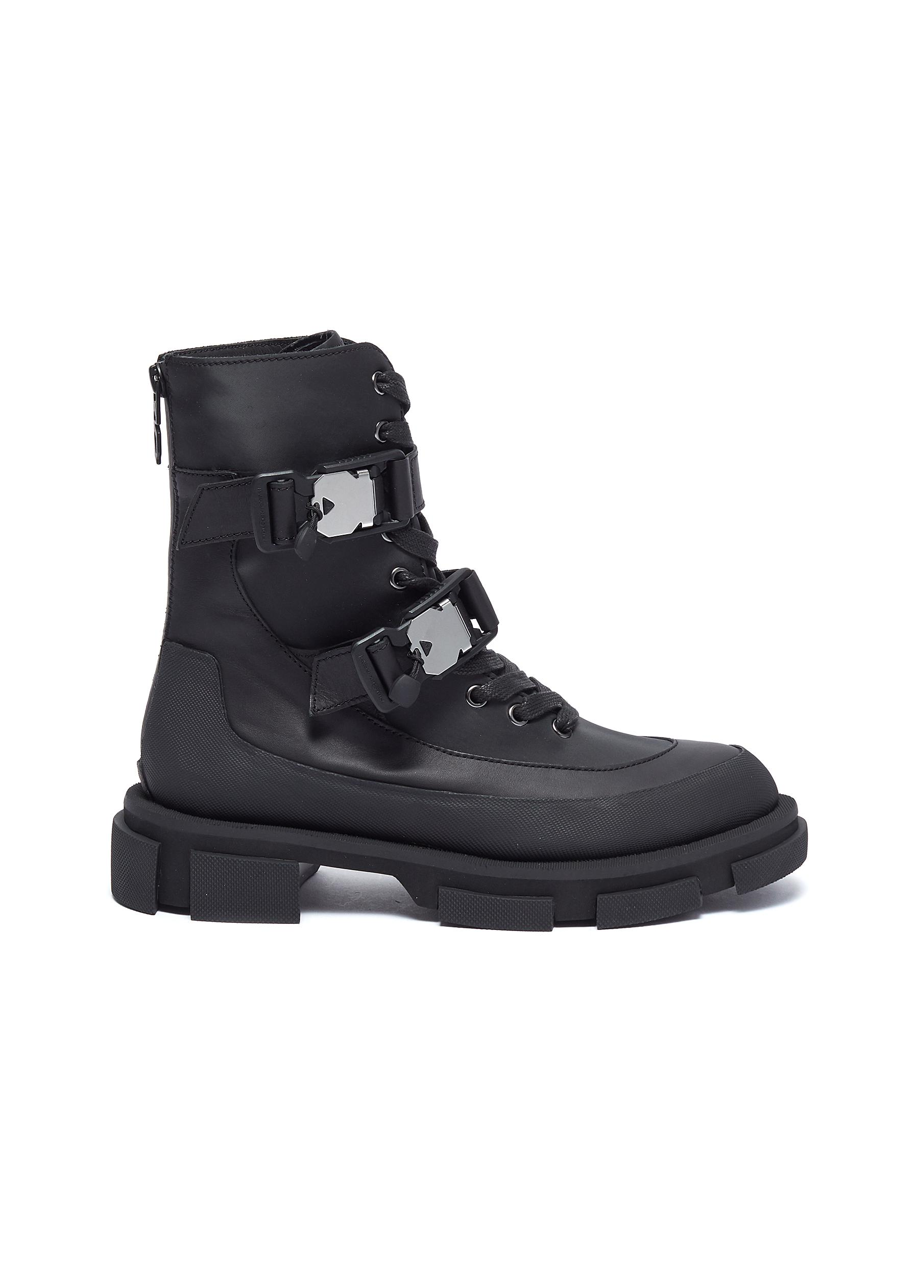 Gao' harness buckles leather combat boots