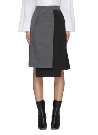 Main View - Click To Enlarge - TIBI - 'Auguste' houndstooth flap midi skirt