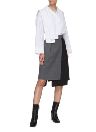 Figure View - Click To Enlarge - TIBI - 'Auguste' houndstooth flap midi skirt