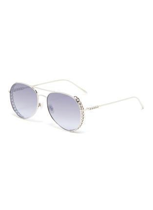 Main View - Click To Enlarge - FOR ART'S SAKE - Links' chain detail metal frame aviator sunglasses