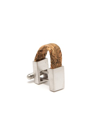 Detail View - Click To Enlarge - TATEOSSIAN - 'Oporto' wrap around cork cufflinks