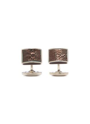 Main View - Click To Enlarge - TATEOSSIAN - Leather titanium rectangular cufflinks