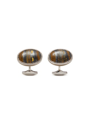 Main View - Click To Enlarge - TATEOSSIAN - Tiger iron silver-toned oval cufflinks