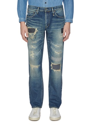 Main View - Click To Enlarge - FDMTL - 'CS71' ripped and repaired boro patch jeans