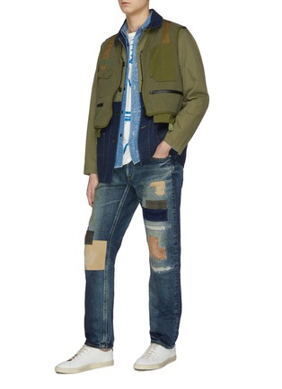 Figure View - Click To Enlarge - FDMTL - 'CS71' ripped and repaired boro patch jeans