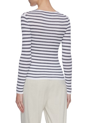 Back View - Click To Enlarge - VINCE - Boat neck striped rib knit top