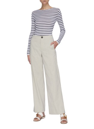 Figure View - Click To Enlarge - VINCE - Boat neck striped rib knit top