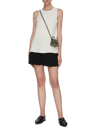 Figure View - Click To Enlarge - VINCE - Textured rib collar sleeveless top