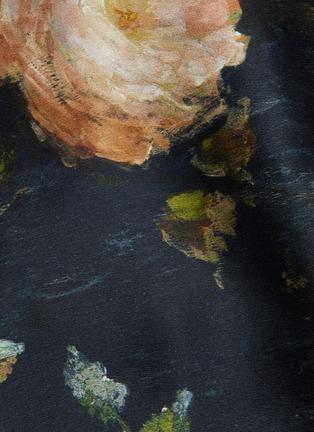- VINCE - Painted rose print midi silk slip skirt