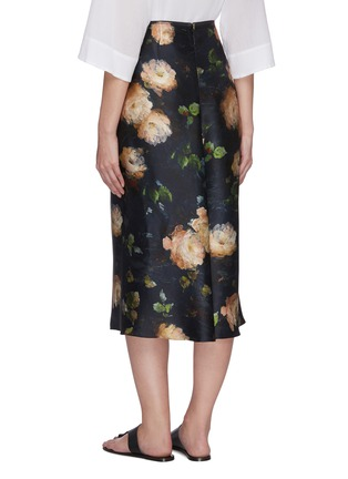 Back View - Click To Enlarge - VINCE - Painted rose print midi silk slip skirt