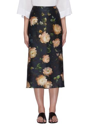 Main View - Click To Enlarge - VINCE - Painted rose print midi silk slip skirt