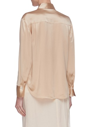 Back View - Click To Enlarge - VINCE - Metallic placket silk blouse