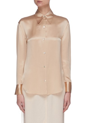 Main View - Click To Enlarge - VINCE - Metallic placket silk blouse