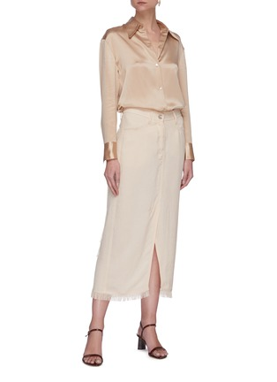 Figure View - Click To Enlarge - VINCE - Metallic placket silk blouse