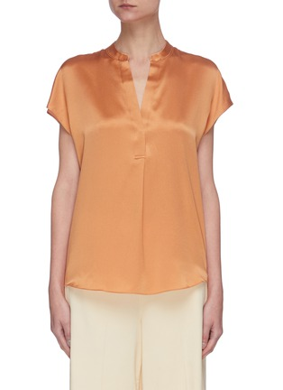 Main View - Click To Enlarge - VINCE - Cap sleeve shirred back V neck silk blouse