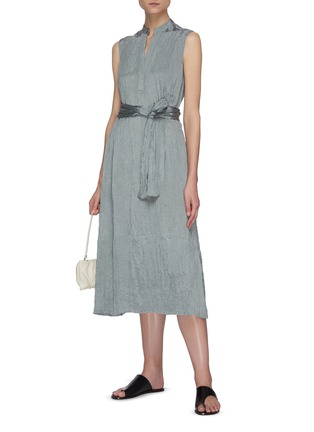 Figure View - Click To Enlarge - VINCE - Hammered satin popover midi dress