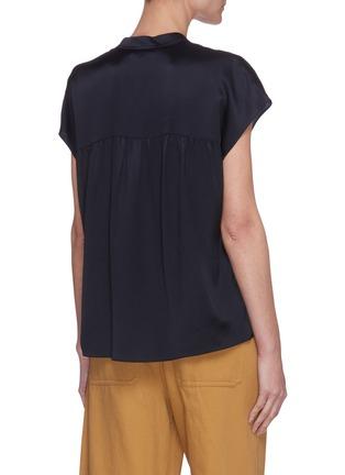 Back View - Click To Enlarge - VINCE - Cap sleeve shirred back V neck silk blouse