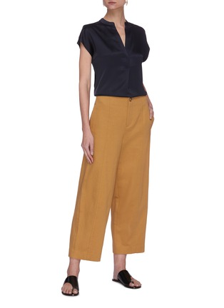 Figure View - Click To Enlarge - VINCE - Cap sleeve shirred back V neck silk blouse