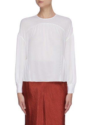 Main View - Click To Enlarge - VINCE - Shirred panelled silk blouse