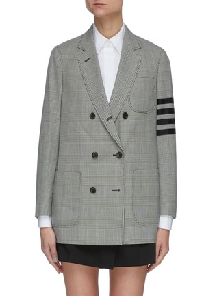Main View - Click To Enlarge - THOM BROWNE - Double breasted four bar stripe sleeve sack jacket