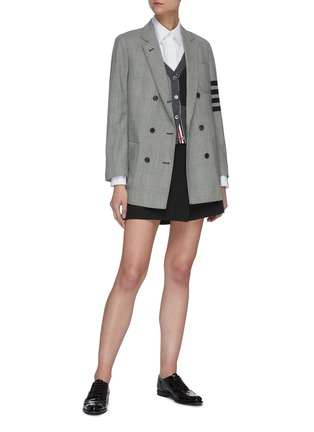 Figure View - Click To Enlarge - THOM BROWNE - Double breasted four bar stripe sleeve sack jacket