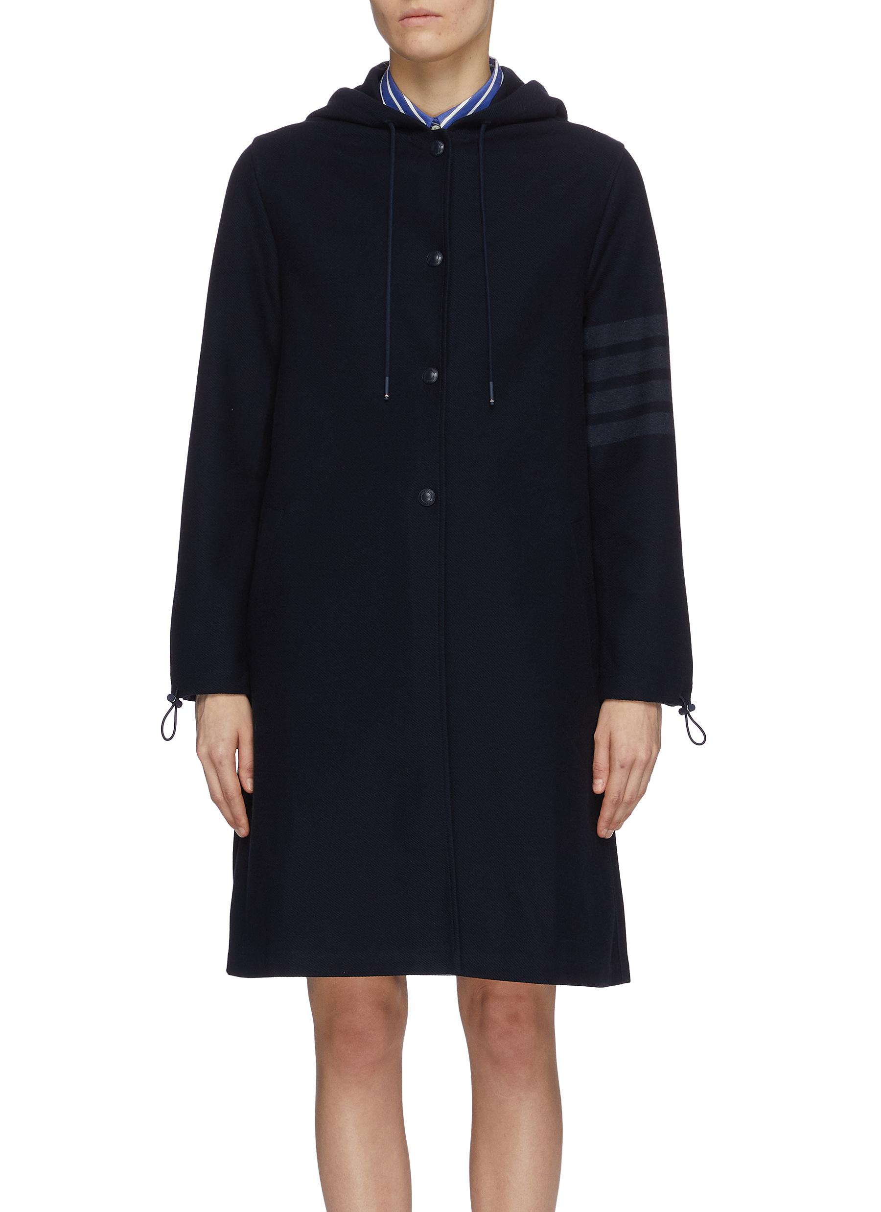 Thom Browne STRIPE SLEEVE SNAP FRONT HOODED PARKA