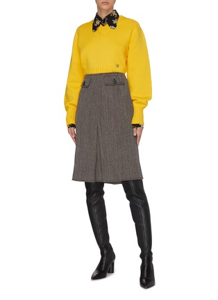 Figure View - Click To Enlarge - VICTORIA BECKHAM - Seamless V-neck Wool Sweater