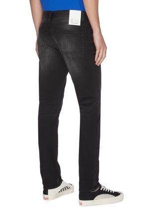 Back View - Click To Enlarge - DENHAM - 'Razor' light whiskering brushed skinny jeans