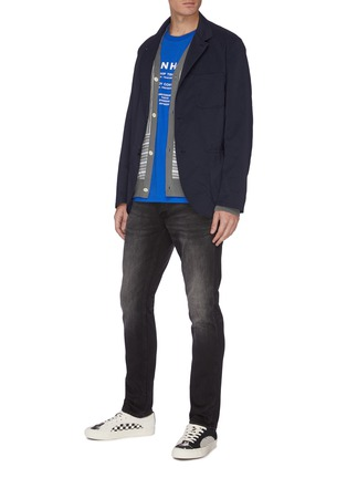 Figure View - Click To Enlarge - DENHAM - 'Razor' light whiskering brushed skinny jeans
