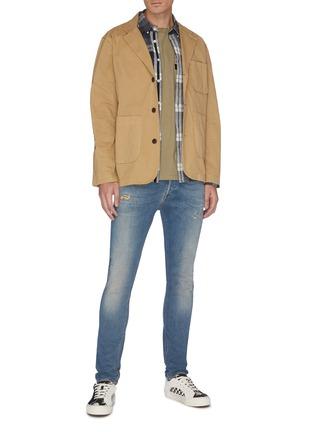 Figure View - Click To Enlarge - DENHAM - 'Bolt' distressed sand wash skinny jeans
