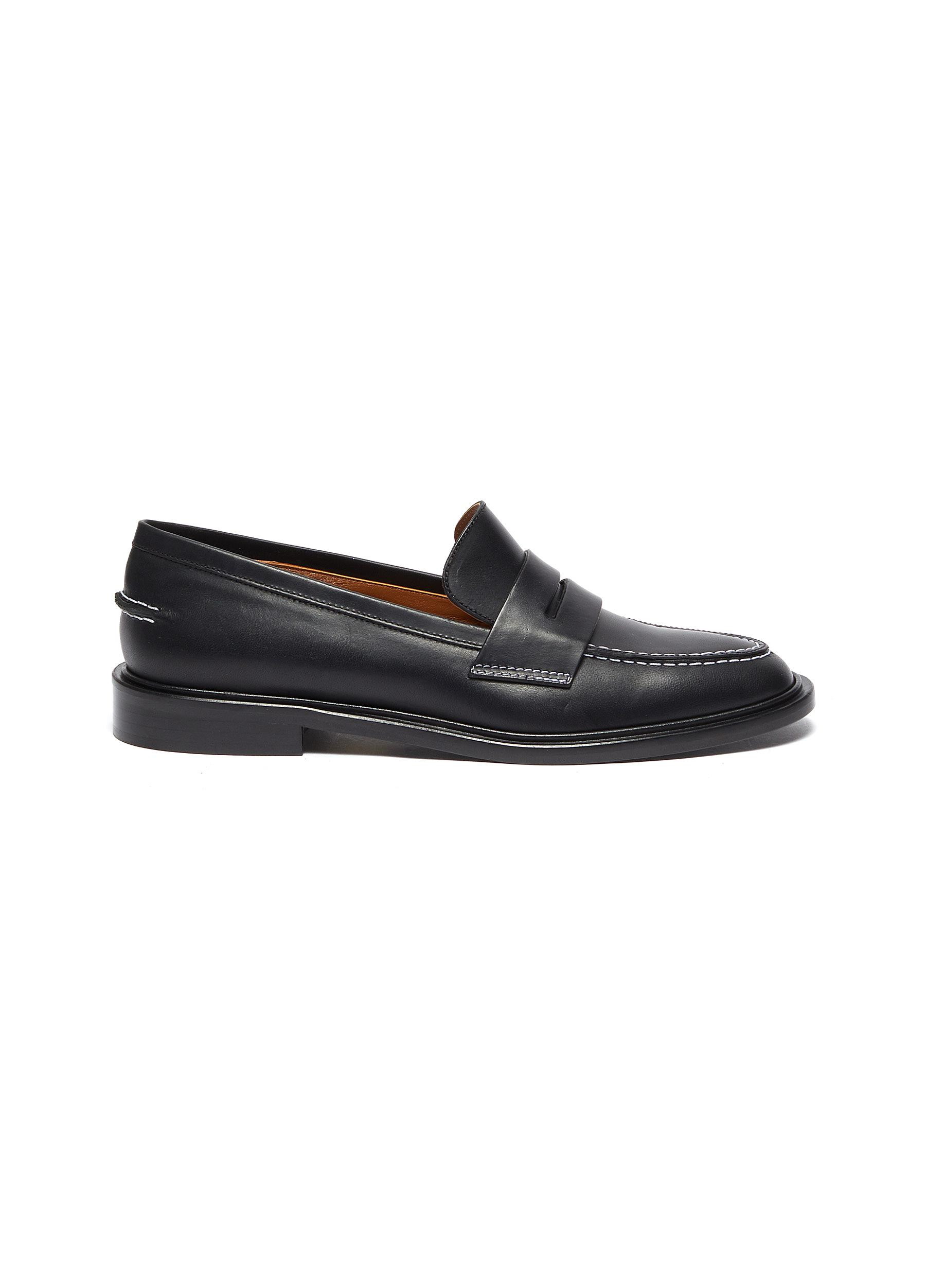 Atp Atelier 'MONTI' CONTRAST STITCHING LEATHER LOAFERS