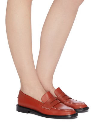 Figure View - Click To Enlarge - ATP ATELIER - Monti' contrast stitching leather loafers