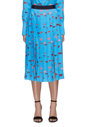 Main View - Click To Enlarge - VICTORIA, VICTORIA BECKHAM - Lips print pleated midi skirt