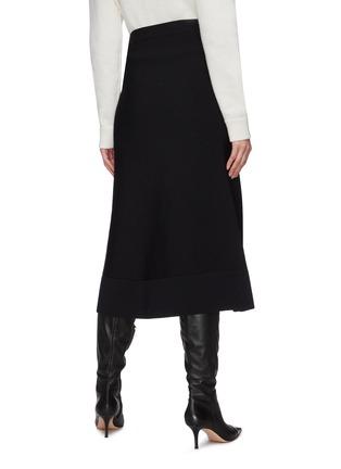 Back View - Click To Enlarge - JIL SANDER - Elastic waistband asymmetric split midi skirt