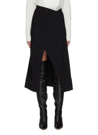 Main View - Click To Enlarge - JIL SANDER - Elastic waistband asymmetric split midi skirt