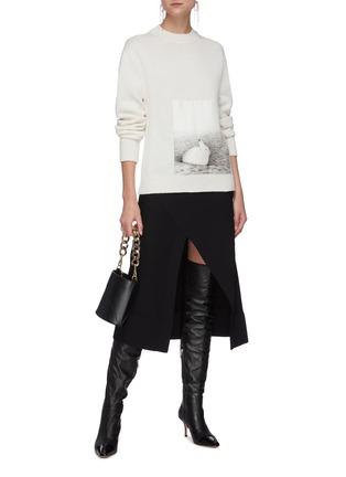 Figure View - Click To Enlarge - JIL SANDER - Elastic waistband asymmetric split midi skirt