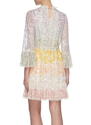 Back View - Click To Enlarge - NEEDLE & THREAD - 'Chakra' rainbow sequin embellished long sleeve tulle mini dress