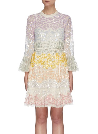 Main View - Click To Enlarge - NEEDLE & THREAD - 'Chakra' rainbow sequin embellished long sleeve tulle mini dress